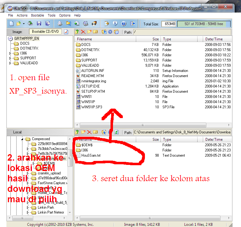 Buka aplikasi ultraisonya. open file Windows XP SP3.iso - pada kolom bawah,